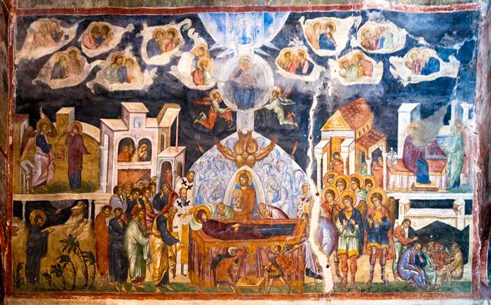 Fresca înfăţişând cele șapte episoade din viața Fecioarei Maria