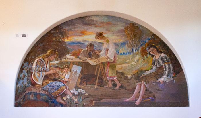 Dumitru Norocea și familia, pictură din Muzeul de Etnografie Casa Norocea