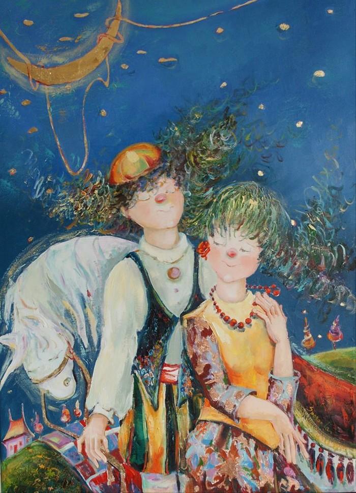 Copilăria este principala temă abordată de Aurora Speranța în pictura sa