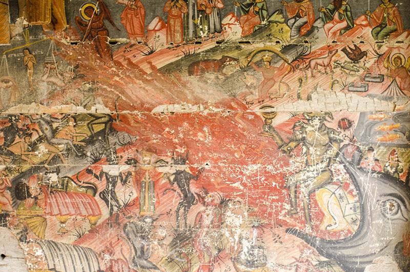 În centru, râul de foc; stânga sus, Judecata de Apoi reprezentată prin balanță; stânga jos, bogatul nemilostiv și diavolul care îi vrea sufletul; dreapta sus, îngerul copiilor botezați, chemați la Cer
