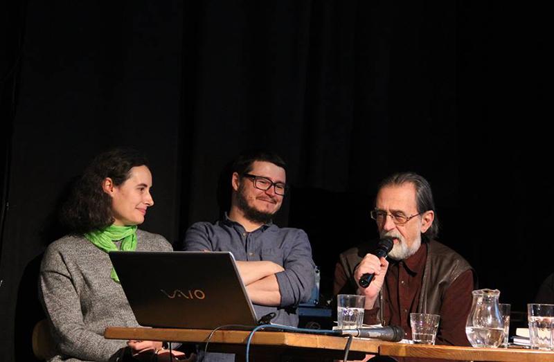"""Antropologul Vintilă Mihăilescu (dreapta), alături de Bogdan Iancu și de Anamaria Iuga, la lansarea numărului 21 al revistei """"Martor"""""""
