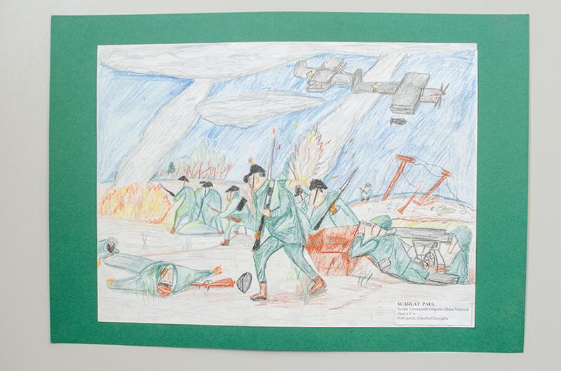 """Desen din cadrul microexpoziției """"România în Marele Război prin ochii tinerilor artiști"""""""