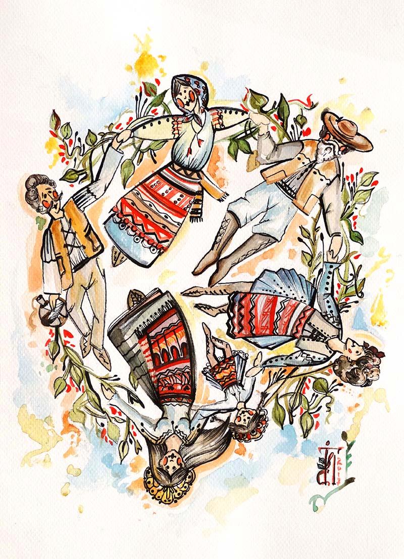 """""""Horă românească"""", unul dintre tablourile Ioanei, pe care le vor admira nuntașii"""