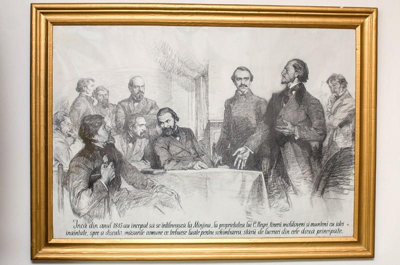 """Imagine din Casa Memorială """"Vasile Alecsandri"""" de la Mirceşti, care ilustrează activitatea politică a marelui poet şi om de stat întru realizarea Unirii de la 1859"""
