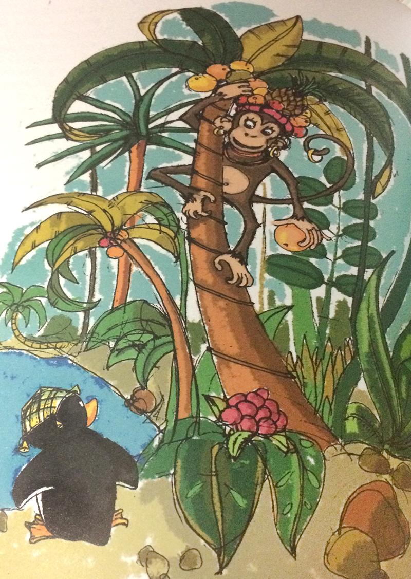 De sus, ascunsă lângă cer, / Pe creanga unui palmier / L-a ascultat, întâi cu frică, / O foarte mică maimuţică. (Gellu Naum, Cartea cu Apolodor)