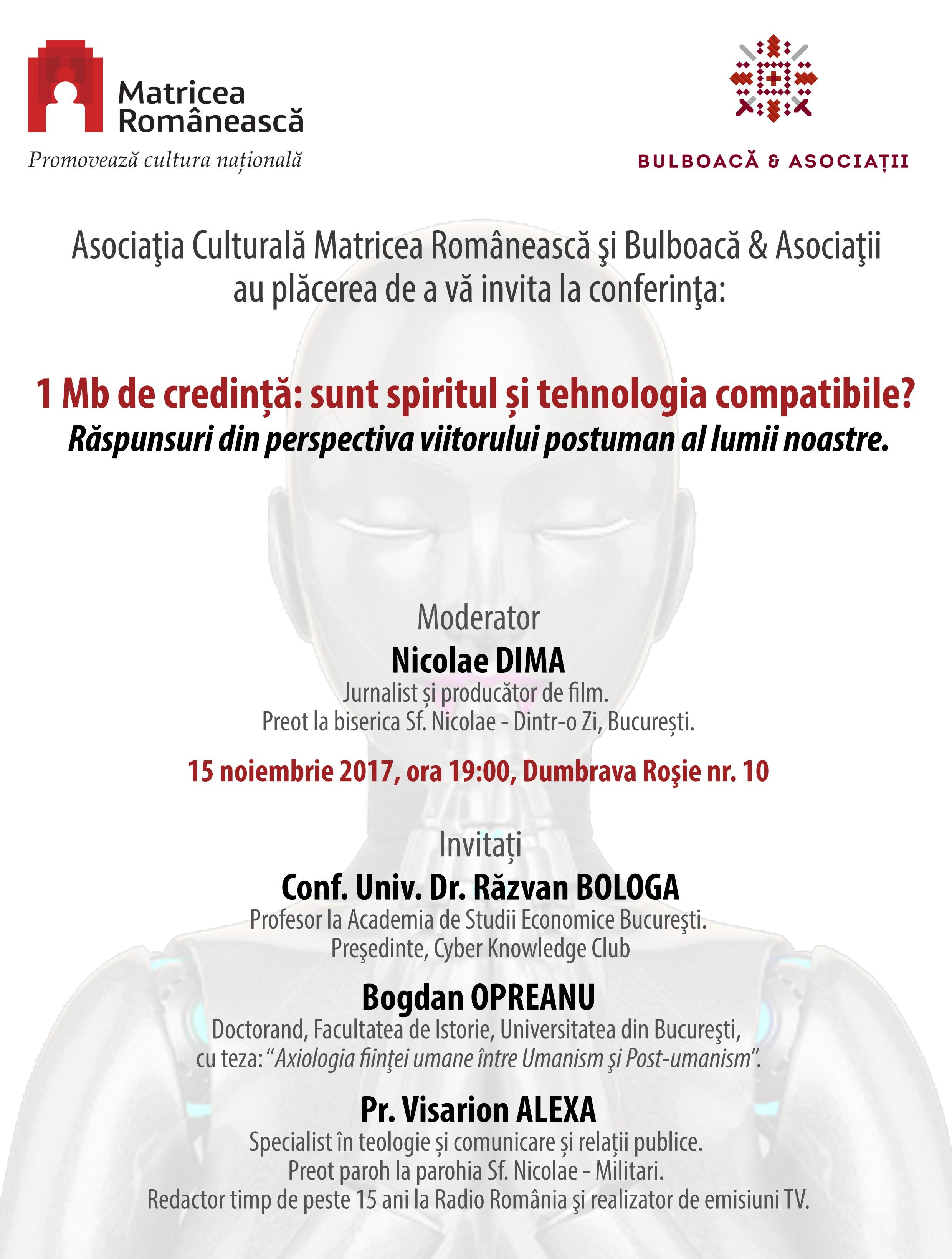 Afiș Conferința 1Mb de credință: sunt spiritul și tehnologia compatibile?