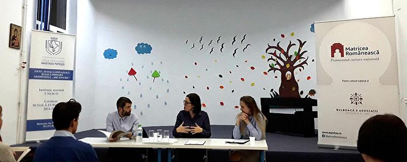 """Cristina Cazan și Corina Moisei alături de Mircea Stanciu în dezbateri despre istorie și spiritualitate la Liceul Pedagogic """"Anastasia Popescu"""""""