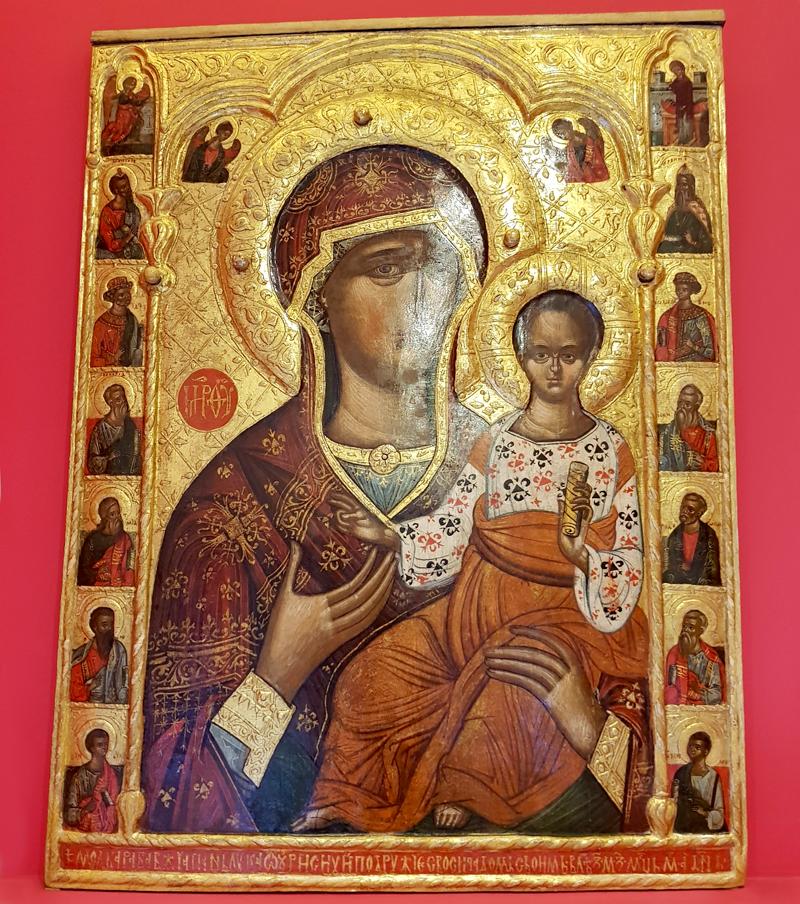 """""""Maica Domnului cu Pruncul, flancată de prooroci"""", una dintre cele mai de preț icoane expuse la Museikon"""