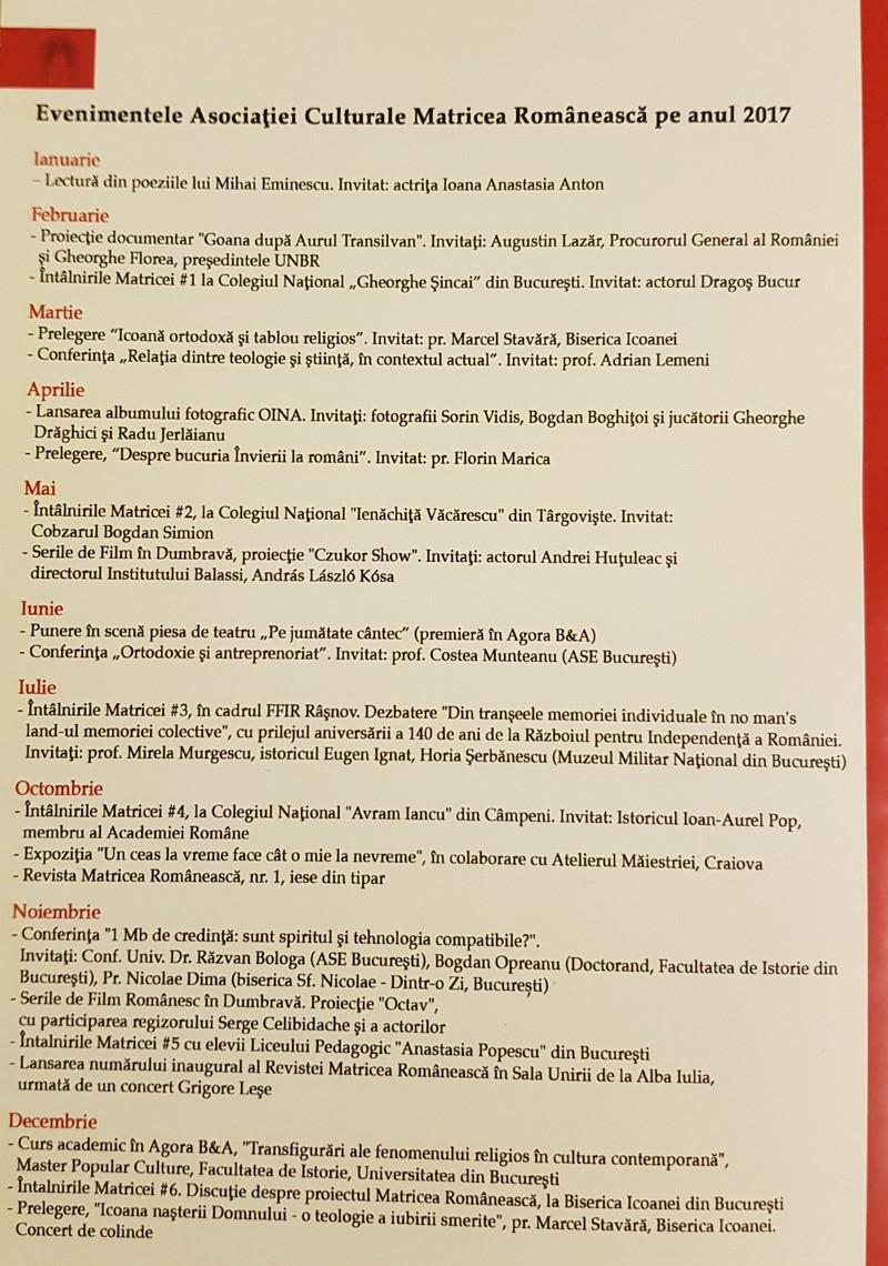 Asociaţia Culturală Matricea Românească, proiect al Bulboacă şi Asociaţii SCA, la bilanţ: un 2017 prolific