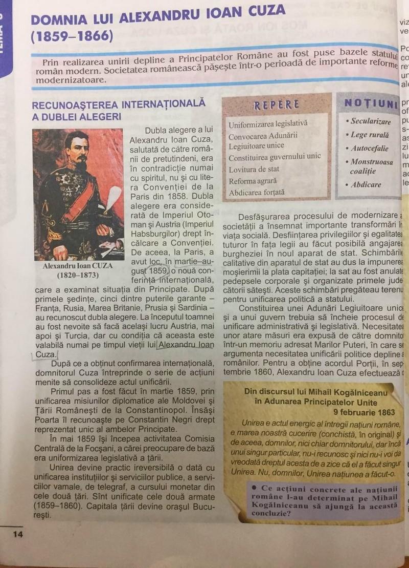 Fragment din manualul de Istorie de clasa a VIII-a, din curricula basarabeană, dedicat personalității și activității prolifice a domnitorului Alexandru Ioan Cuza