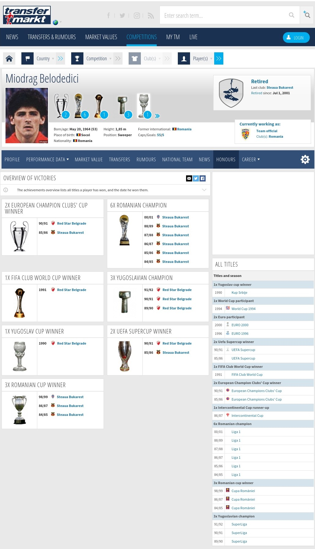 trofee Miodrag Belodedici emblemă fotbal românesc interior
