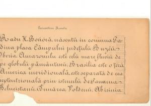 Caligrafie Radu Bocioacă învăţător Padina - Macoveiul discipol Spiru Haret generaţie Marea Unire