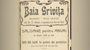 Reclamă în ziar pentru Băile Grivița, spre finalul secolului XX