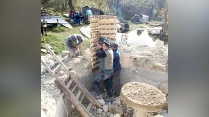 În timpul lucrărilor de demontare a bisericii din Vința