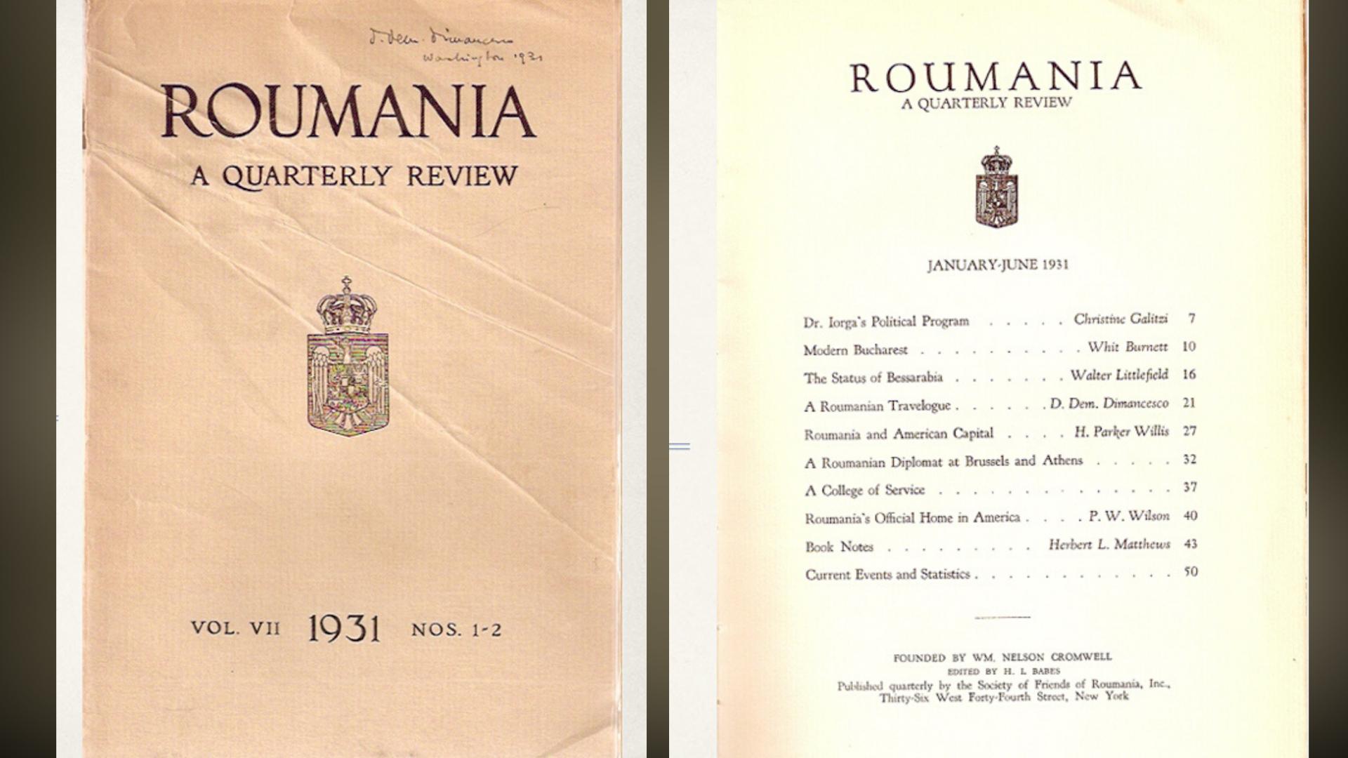 """Coperta și cuprinsul unuia dintre numerele revistei """"Roumania"""""""