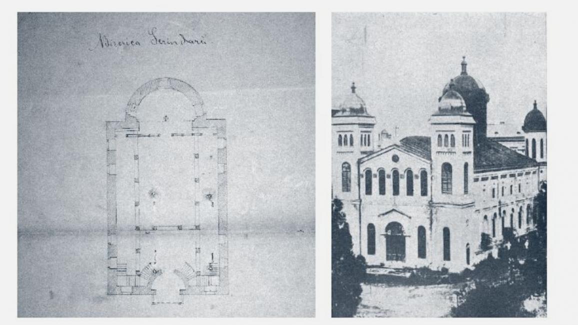 Planul Mănăstirii Sărindar realizat de arhitectul desenator Anton Standacher în 1868