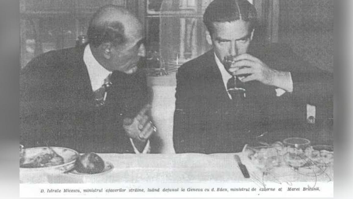 Istrate Micescu (stânga), alături de ministrul de Externe al Marii Britanii, Anthony Eden