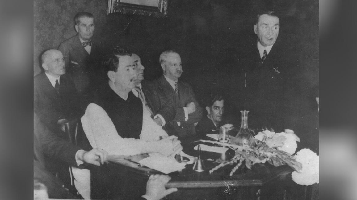 Iuliu Maniu, Ion Mihalache, Nicolae Lupu, Mihai Popovici, Samsonovici, la Comitetul Executiv al PNȚ din 1937 Credit foto: ANR